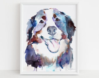 """Bernese Mountain Dog Watercolor Print 