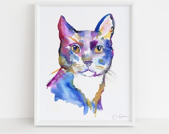 """Cat Watercolor Painting  
