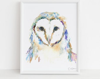 "Barn Owl Watercolor Print | ""Barn Owl"" by Jess Buhman, Multiple Sizes, Wall Art, Nursery Painting, Home Decor, Choose Your Size"