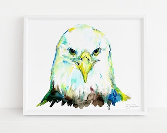 "Eagle Watercolor Digital Download | ""Eagle Eye"" by Jess Buhman, Instant Download, Print at Home, Bird Painting, Patriotic Art"