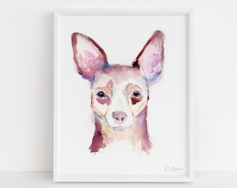 """Chihuahua Dog Watercolor Print 