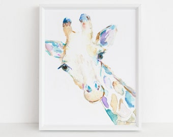 "Watercolor Giraffe Print Instant Download | ""George the Giraffe"" by Jess Buhman, 8"" x 10"" Digital File, Print at Home, Nursery Decor"