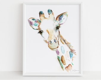 "Watercolor Giraffe Print Instant Download | ""Joshua the Giraffe"" by Jess Buhman, 8"" x 10"" Digital File, Print at Home, Nursery Decor"