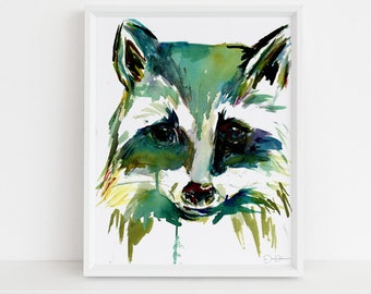 """Raccoon Watercolor Print Instant Download 