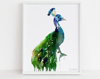 "Peacock Print | ""Priscilla the Peacock"" by Jess Buhman, Digital Download, Print Yourself, Bird Painting, Wall Art, Home Decor"
