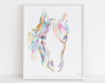 "Horse Watercolor Print Instant Download | ""Hugo"" by Jess Buhman, 8"" x 10"" Digital File, Print at Home"