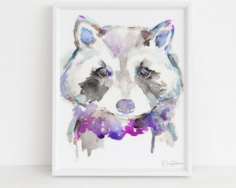 """Raccoon Watercolor Print   """"Rosie the Raccoon"""" by Jess Buhman, Multiple Sizes, Select Your Size, Nursery Painting, Animal Art, Woodland Art"""