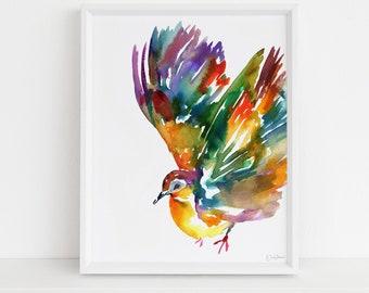 "Watercolor Bird Instant Download  |  ""Felinda Takes Flight"" by Jess Buhman, Printable 8"" x 10"" Watercolor Art, Digital Print, Print at Home"