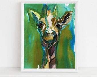 "Giraffe Watercolor Print | ""Hey, You Guys!"" by Jess Buhman, Multiple Sizes, Select Your Size, Nursery Art, Safari Animal,"