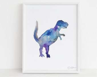 "Tyrannosaurus Rex Instant Download, ""Mr. T"" by Jess Buhman, Printable 8"" x 10"" watercolor art, Digital Dinosaur Print"