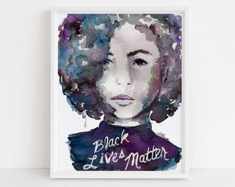 "Watercolor Black Lives Matter Print | ""Black Lives Matter"" by Jess Buhman, Social Justice Print,  8 x 10 Digital File"