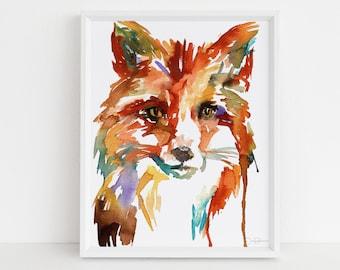 "Fox Print Digital Download, ""Little Fox"" by Jess Buhman, Instant Download, Print at Home, Watercolor Animal, Nursery Art"