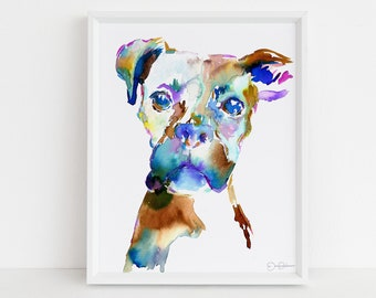 "Boxer Watercolor Print | ""Lacey the Boxer"" by Jess Buhman, Multiple Sizes, Select Your Size, Dog Watercolor Painting, Boxer Art"