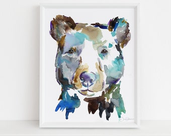 "Black Bear Watercolor Print | ""Black Bear"" by Jess Buhman, Bear Painting, Watercolor Print of Bear, Nursery Art, Woodland Art, Cabin Decor"