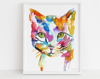 "Cat Watercolor Print | ""Cat"" by Jess Buhman, Multiple Sizes, Select Your Size, Cat Painting, Pet Painting, Tabby Cat Painting"