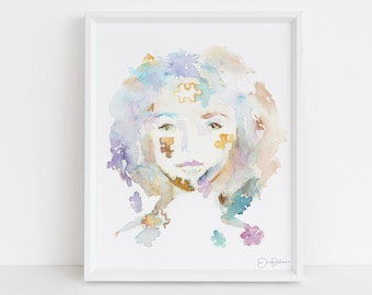 "Watercolor Autism Instant Download, ""Lexi"" by Jess Buhman, Digital File, 8"" x 10"" Print of Woman, Abstract Painting"