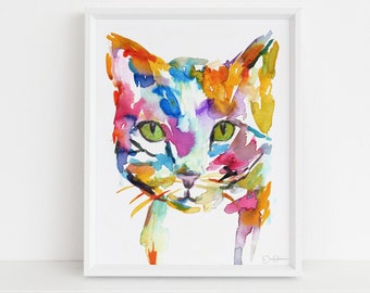 "Cat Watercolor Print Instant Download | ""Cat"" by Jess Buhman, 8"" x 10"", Print at Home, Digital File, Instant Gift Idea"