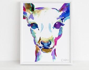 "Deer Print Instant Download | ""What A Deer"" by Jess Buhman, Print at Home, Digital File, Watercolor Deer Print 8"" x 10"""