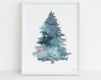 "Pine Tree Watercolor Digital Download  |  ""Pine"" by Jess Buhman, 8 x 10 Instant Download, Christmas Decor, Christmas Tree"