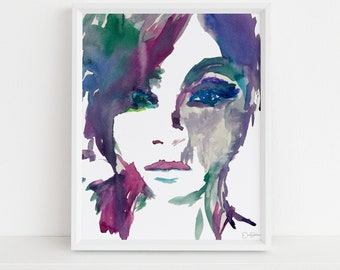 """Portrait of Woman Watercolor Print, """"Zoey's Sister"""" by Jess Buhman, Watercolor Woman, Watercolor Print. Fashion Illustration, Print for Her"""