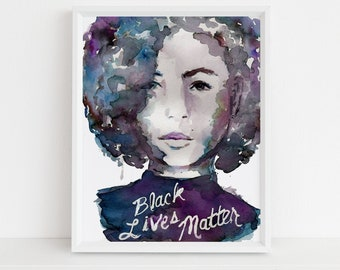 Black Lives Matter Watercolor Print | Jess Buhman, Multiple Sizes, Black Woman Watercolor, Equality Print