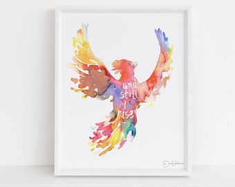 """Phoenix Watercolor Painting Print 