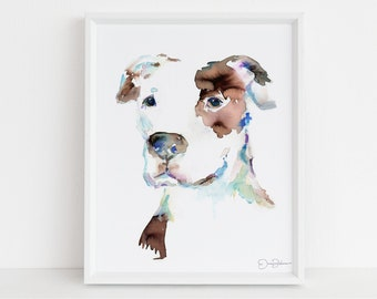 """Pit Bull Watercolor Print Instant Download   """"Pit Bull"""" by Jess Buhman, 8"""" x 10"""" Digital File, Print at Home, Dog Lover Gift"""