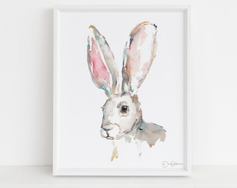 "Rabbit Watercolor Painting  | ""Jackrabbit"" by Jess Buhman, Multiple Sizes, Select Your Size, Nursery Art, Watercolor Bunny"