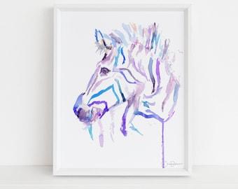 "Zebra Watercolor Print | ""Zebra"" by Jess Buhman, Multiple Sizes, Select Your Size,  Zebra Print, Zoo Animal Art, Safari Art, Nursery Art"