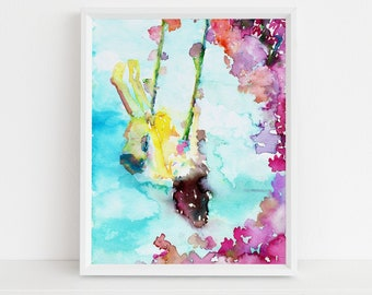 """Swinging Girl Watercolor Print   """"Swing Life Away"""" by Jess Buhman, Multiple Sizes, Wall Art, Nursery Painting, Home Decor, Choose Your Size"""