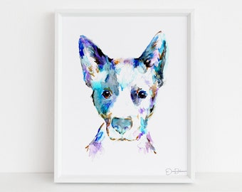 "Blue Heeler Print | ""Blue"" by Jess Buhman, Multiple Sizes, Select Your Size, Watercolor Dog Art, Australian Cattledog Painting, Dog Print"