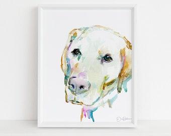 "Watercolor Lab Painting Print | ""Love You Labrador"" by Jess Buhman, Print of Labrador Retriever, , Watercolor Dog, Dog Print"