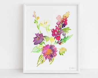 """Watercolor Flowers Print 