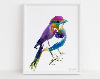"Colorful Bird Print | ""Ren the Bird"" by Jess Buhman, Multiple Sizes, Select Your Size, Watercolor Bird Print"