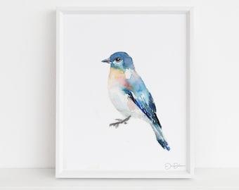 "Watercolor Bird Instant Download  |  ""Bluebird of Happiness"" by Jess Buhman, Printable 8"" x 10"" Watercolor Art, Digital Print, Print at Home"