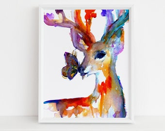 "Deer Print Instant Download | ""Butterfly Kisses"" by Jess Buhman, Print at Home, Digital File, Watercolor Deer Print, Christmas Decor"
