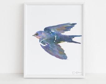 "Watercolor Bird Instant Download  |  ""Barn Swallow"" by Jess Buhman, Printable 8"" x 10"" Watercolor Art, Digital Print, Print at Home"