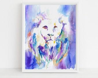 "Lion Watercolor Digital Download Print, ""The Lion's Roar"" by Jess Buhman, Instant Download, Digital File, Nursery Decor"