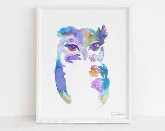 """Owl Watercolor Print 