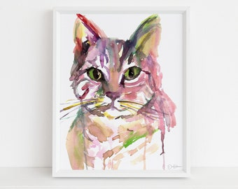 """Cat Watercolor Print Instant Download 