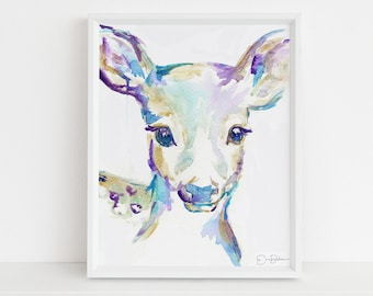 """Baby Deer Watercolor Painting Print 
