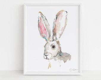 "Bunny Print Digital Download | ""Jackrabbit"" by Jess Buhman, Instant Download, Print at Home, Watercolor Animal, Nursery Art"