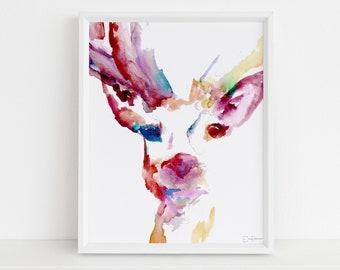 "Deer Watercolor Painting Print | ""Deer"" by Jess Buhman, Multiple Sizes, Select Your Size, Buck Art, Print of Deer, Nursery Art, Woodland Art"