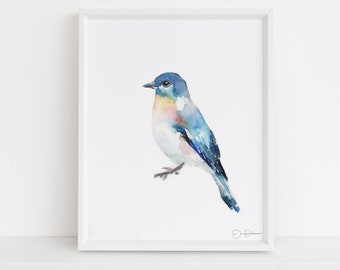 "Watercolor Bluebird Print | ""Bluebird of Happiness"" by Jessica Buhman, Multiple Sizes, Select Your Size, Watercolor Bird, Abstract Bird Art"