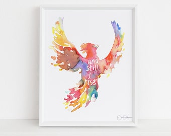 "Phoenix Watercolor Print | ""And Still I Rise"" by Jess Buhman, Multiple Sizes, Phoenix Painting, Watercolor Print of Bird, Watercolor Bird"