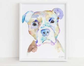 """Pit Bull Watercolor Print Instant Download 