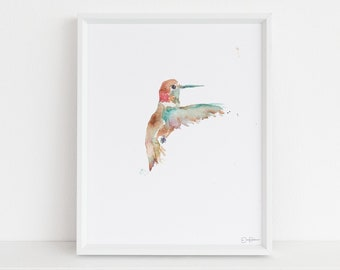 """Hummingbird Watercolor Painting  