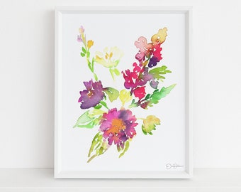 "Floral Watercolor Digital Download  |  ""Autumn Blooms"" by Jess Buhman, 8 x 10 Instant Download, Art for Her, Gift for Women"