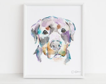 """Watercolor Dog Rottweiler Print  