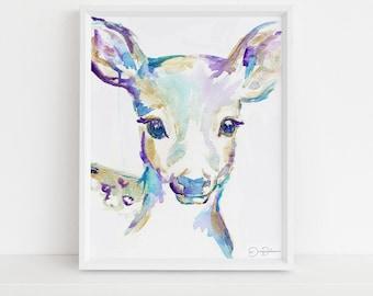 "Deer Print Instant Download | ""Freckles the Fawn"" by Jess Buhman, Print at Home, Digital File, Watercolor Deer Print 8"" x 10"""
